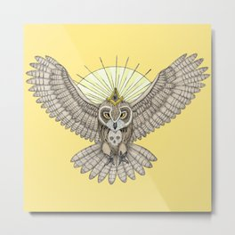 Mason Owl with skull, rule, compass and the eye that sees everything (tattoo style - color version) Metal Print