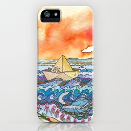 Paper boat sunset iPhone Case