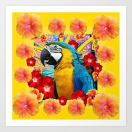 Tropical Blue Macaw Parrot & Hibiscus Flowers Art Print