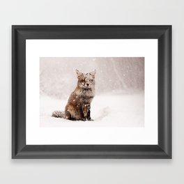 Fairytale Fox _ Red Fox in a Snow Storm Framed Art Print