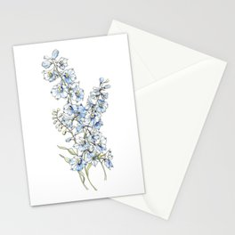Blue Delphinium Flowers Stationery Cards