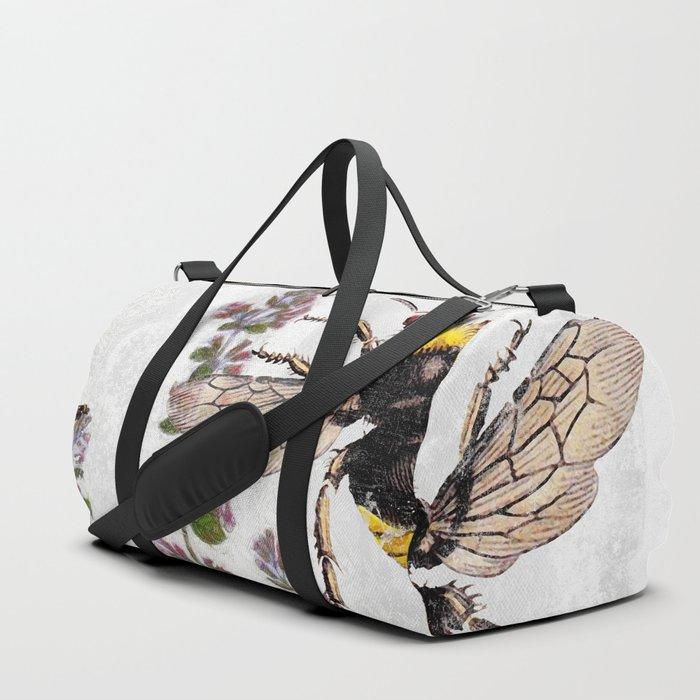 Cottage Style Thyme, Bumble Bee, Hummingbird, Herbal Botanical Illustration Duffle Bag
