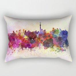 Toronto skyline in watercolor background Rectangular Pillow