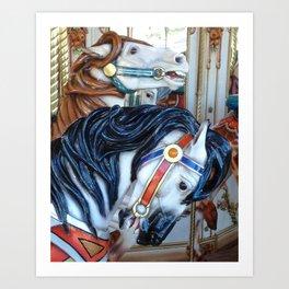 Carousel Horses Carnival Merry Go Round Horses Art Print