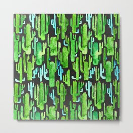 cactus on black pattern Metal Print