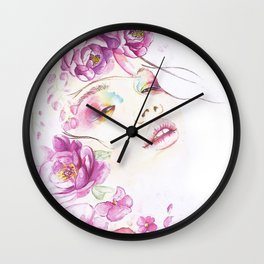 Girl with Flower Crown Watercolor lavender pink peonies Wall Clock