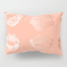 Sweet Life Lips Peach Coral Pink Shimmer Pillow Sham