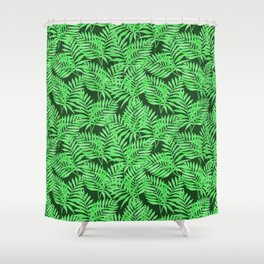Tropical Jungle Palm Leaves Canopy Shower Curtain