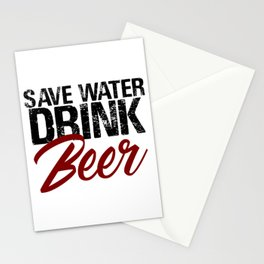 Save Water Drink Beer Funny Drunk Alcoholic Fun Meme c Stationery Cards