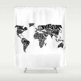 World Word Map - Black and White Shower Curtain