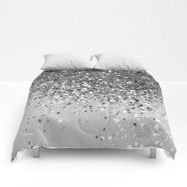 Soft Silver Gray Glitter #1 (Faux Glitter - Photography) #shiny #decor #art #society6 Comforters