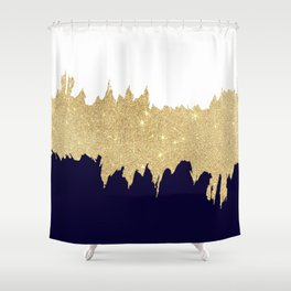 Modern navy blue white faux gold glitter brushstrokes Shower Curtain