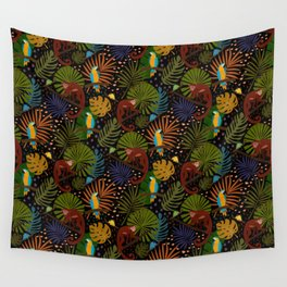 Jungle Pattern with Monkeys, Macaws and colorful Dart Frogs Wall Tapestry