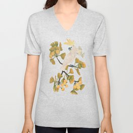 Cockatoo and Ginkgo Tree Unisex V-Neck