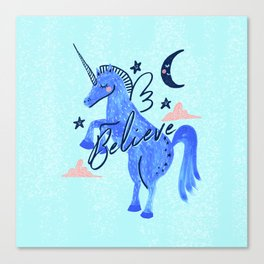 Night Sky Unicorn - Stars and Moon Canvas Print