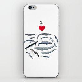 I love whales design iPhone Skin