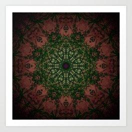 Warm Vintage Detailed Green Mandala Art Print