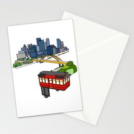 Pittsburgh Steel City Skyline Incline Line Art Drawing 412 PGH Print Stationery Cards