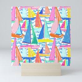 Painterly Sailboat Regatta in White Mini Art Print