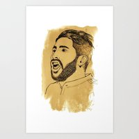 real madrid Art Prints featuring Sergio Ramos - Real Madrid - Spain - Footballer by Matty723