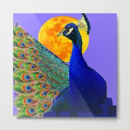 BLUE PEACOCK  FULL MOON ART ABSTRACT Metal Print