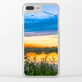 Sunset at The Fens, Norfolk, U.K Clear iPhone Case