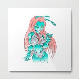 Beautiful girl robot android Metal Print