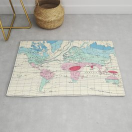 Vintage World Climate Map (1870) Rug