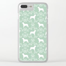 English Springer Spaniel dog breed mint floral pet portraits dog silhouette dog pattern Clear iPhone Case