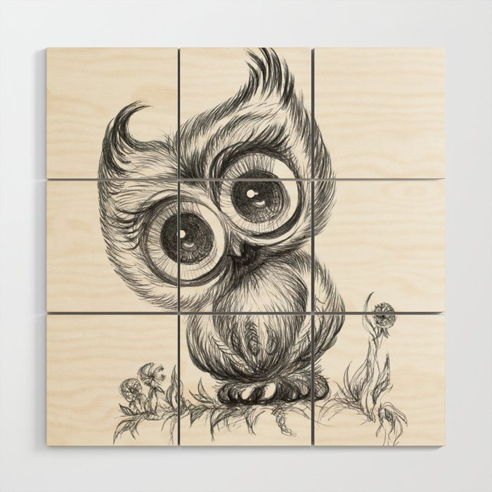 Baby Owl Wall Art Nursery Decor Bird Ilration Animals Wood By Noramanapova