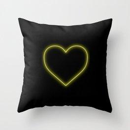 Yellow Neon Valentines Love Heart Throw Pillow