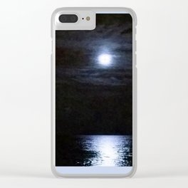 Moon Over Lake Michigan Clear iPhone Case
