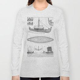 Vintage Viking Naval Ship History and Diagram Long Sleeve T-shirt
