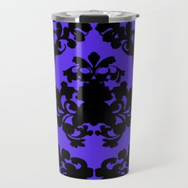 Victorian Damask Purple and Black Travel Mug