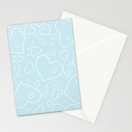 Palest Blue and White Hand Drawn Hearts Pattern Stationery Cards