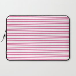 Candy pink and white thin horizontal stripes Laptop Sleeve