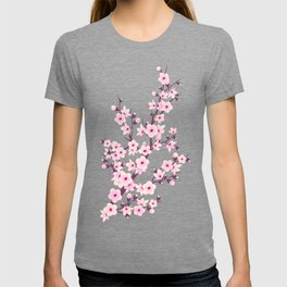 Cherry Blossom Pink Gray T-shirt