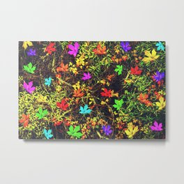 maple leaf in blue red green yellow pink orange with green creepers plants background Metal Print