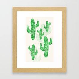 Linocut Cacti Green Framed Art Print