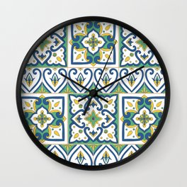 Italian Tile Pattern – Sicilian ceramic from Caltagirone Wall Clock