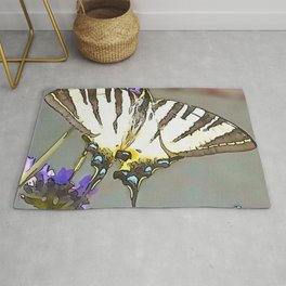 Scarce Swallowtail On Lilac Flowers Black Outline Art Rug