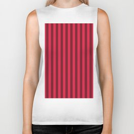 Crimson Red Stripes Pattern Biker Tank