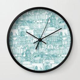 Edinburgh toile teal white Wall Clock