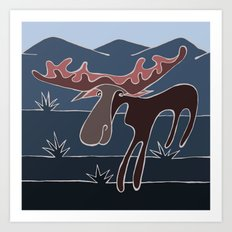 Blue Mountain Moose Art Print