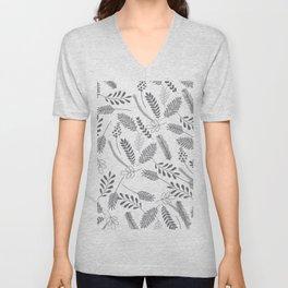 Modern gray hand painted leaves berries pattern Unisex V-Neck