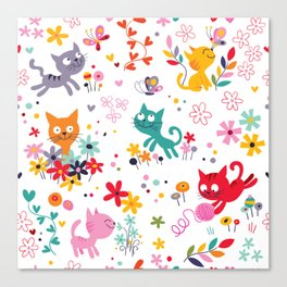 cats playing and flowers Canvas Print
