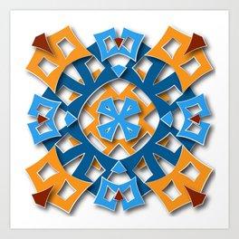 aztec mandala sun blue Art Print