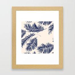 Blue Palm Leaves x Dry Brush Framed Art Print