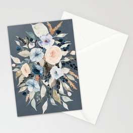Loose Watercolor Bouquet on Blue Stationery Cards
