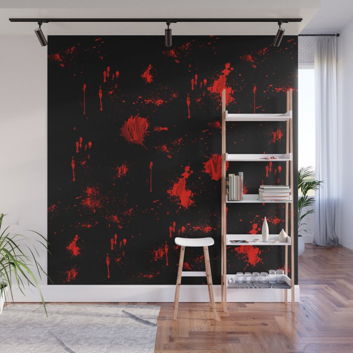 Red Paint Blood Splatter On Black Wall Mural By Scotthervieux Society6